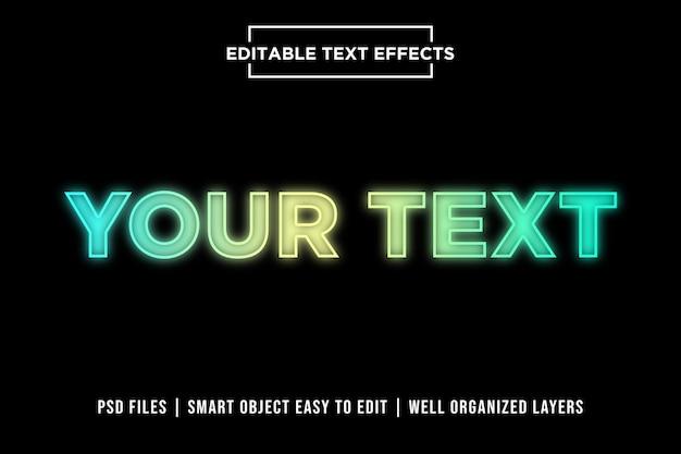 Kolorowe neonowe efekty tekstowe premium Premium Psd