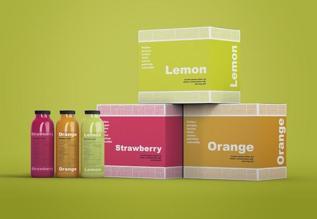 Kolorowe odświeżające makiety opakowań smoothie Darmowe Psd