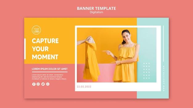 Kolorowy Baner Digitalizmu Ze Zdjęciem Kobiety Darmowe Psd