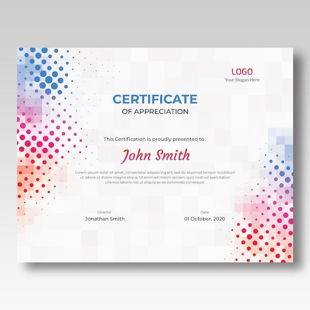 Kolorowy szablon certyfikatu mozaiki i półtonów Premium Psd