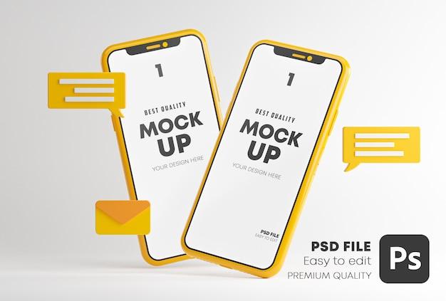 Komunikacja Aplikacja Konwersacyjna Koncepcja Makiet Mediów Społecznościowych W Renderowaniu 3d Premium Psd