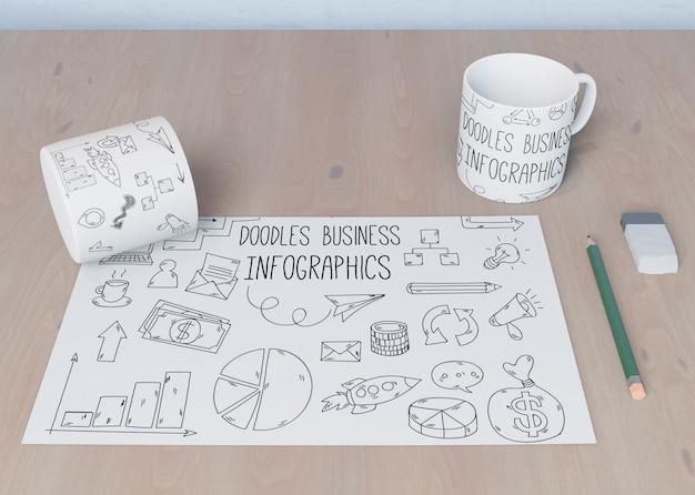 Koncepcja biurka z arkuszy szkicu Darmowe Psd
