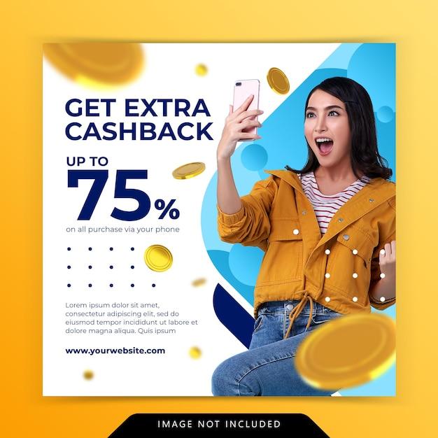 Koncepcja Kreatywna Dodatkowa Promocja Marketingowa Cashback Szablon Postu W Mediach Społecznościowych Premium Psd