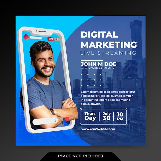 Koncepcja Kreatywna Social Media Instagram Na żywo Dla Szablonu Promocji Marketingu Cyfrowego Premium Psd