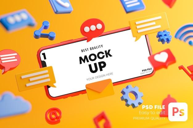 Koncepcja Mediów Społecznych Urządzenia Kreskówki Z Makietą Ikon W Renderowaniu 3d Premium Psd