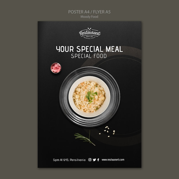Koncepcja Plakat Restauracja Nastrojowe Jedzenie Darmowe Psd