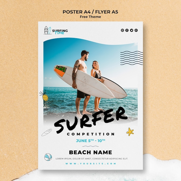 Koncepcja Szablon Plakat Surfer Darmowe Psd