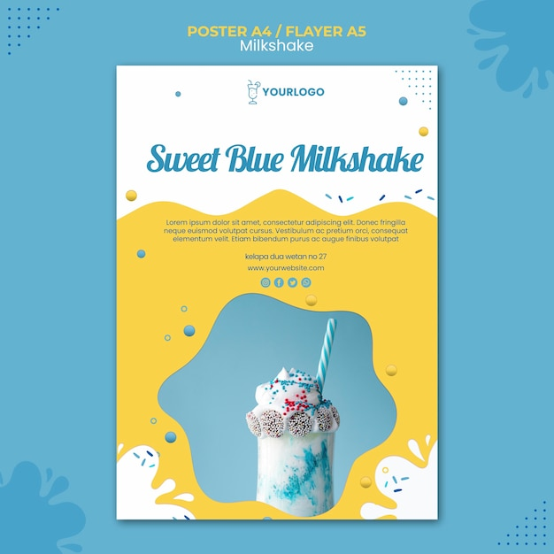 Koncepcja Szablonu Plakat Milkshake Darmowe Psd