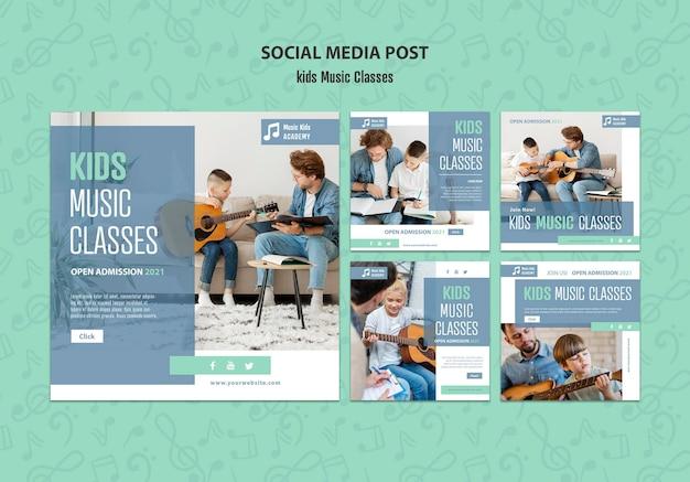 Koncepcja Zajęć Muzycznych Dla Dzieci Szablon Postu W Mediach Społecznościowych Darmowe Psd