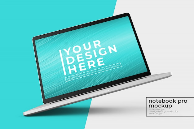 Konfigurowalny Makietowy Laptop Pro Psd 15'4 Cale Premium Z Makietą W Obróconym W Lewo I Centralnym Widoku Premium Psd