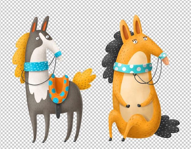 Konie Kreskówka Ręcznie Rysowane Ilustracje Premium Psd