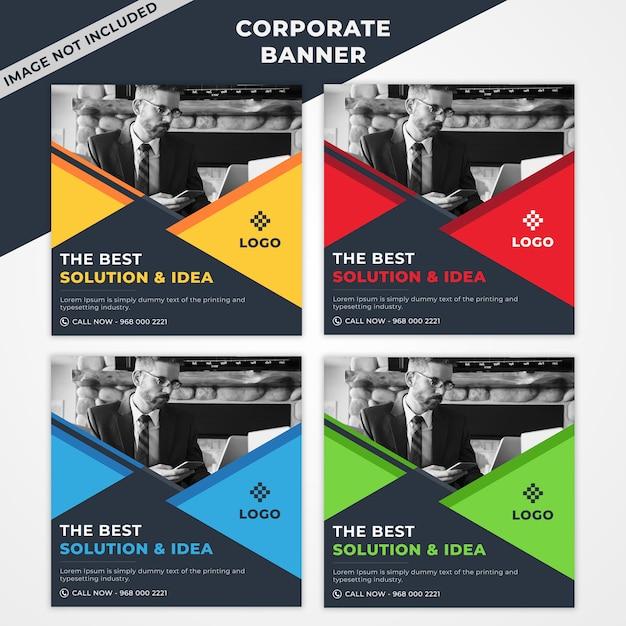 Korporacyjny Zestaw Bannerów Z 4 Kolorami Premium Psd