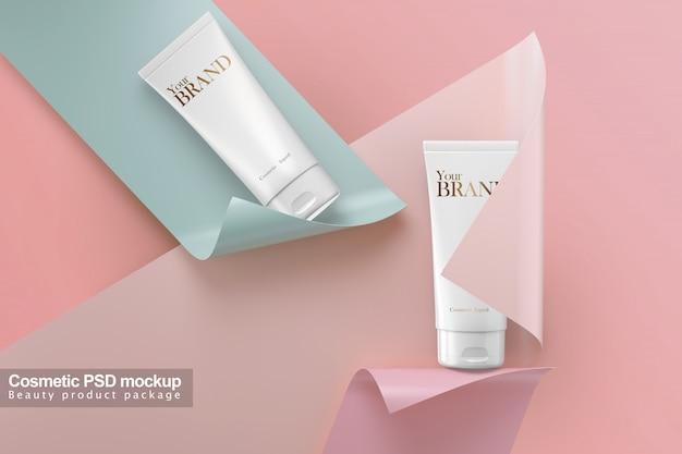 Kosmetyczna Tubka Z Papierowym Tła Makieta Szablonu Pakunku Projektem. Premium Psd