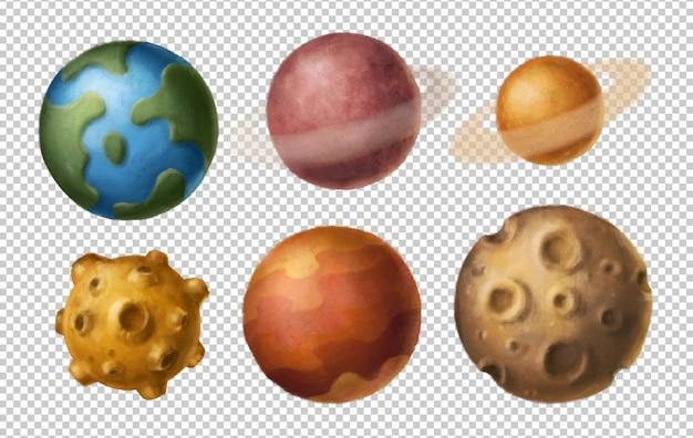 Kreskówka Planety Clipart Premium Psd