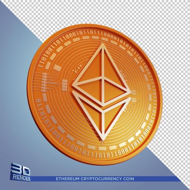 Kryptowaluta Złota Ethereum Coin Renderowania 3d Na Białym Tle Premium Psd