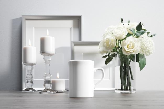 Kubek Ceramiczny Z Kwiatami I Elementami Dekoracyjnymi Darmowe Psd