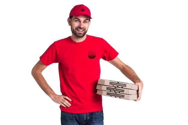 Kurier Pizzy Chłopiec Gospodarstwa Pola Darmowe Psd