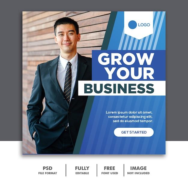 Kwadratowy Baner Media Społecznościowe Szablon Ogłoszenia Biznes Niebieski Premium Psd