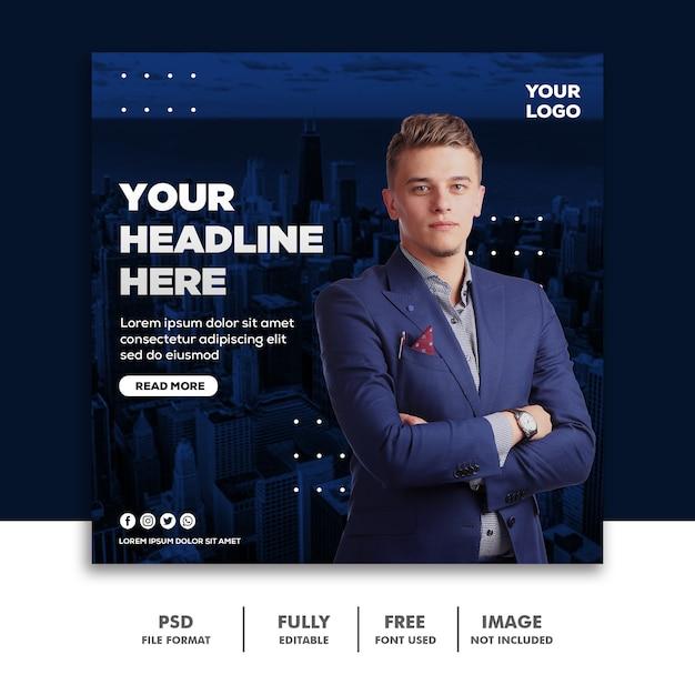 Kwadratowy Baner Social Media Post Szablon Biznes Niebieskie Miasto Premium Psd