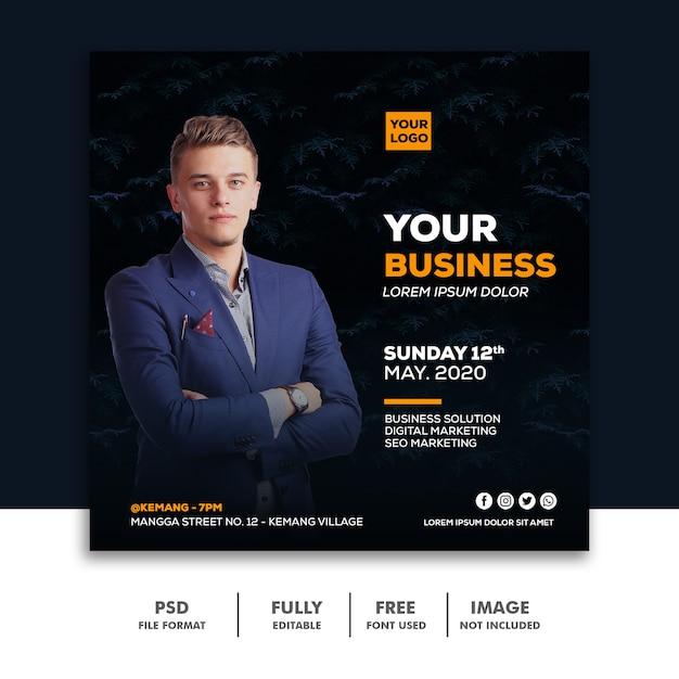 Kwadratowy Baner Social Media Post Szablon Biznes Premium Psd