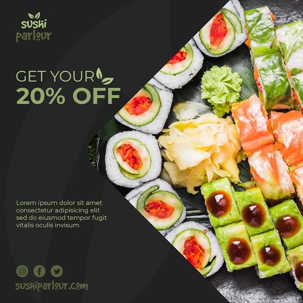 Kwadratowy post szablon dla japońskiej restauracji Darmowe Psd