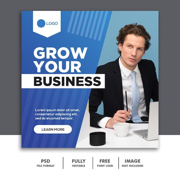 Kwadratowy Szablon Social Media Post Szablon Rozwijaj Swoją Firmę Premium Psd
