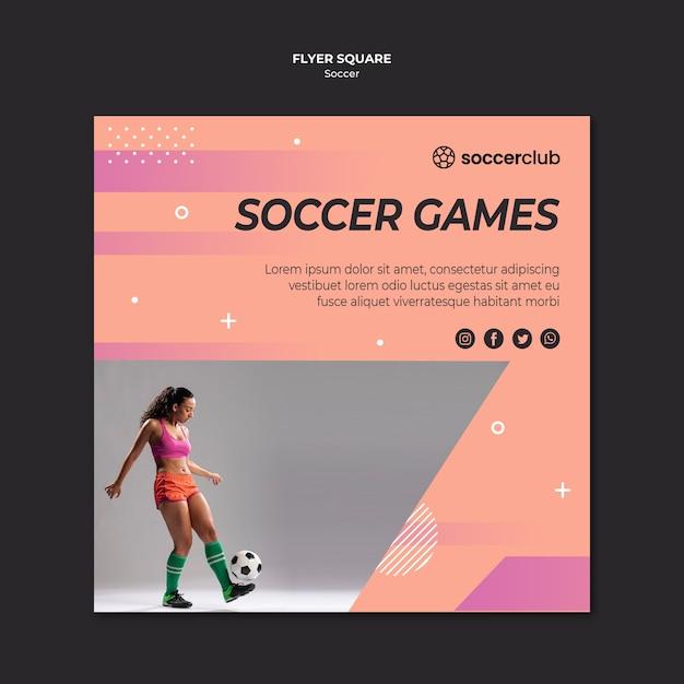 Kwadratowy Szablon Ulotki Dla Piłki Nożnej Darmowe Psd