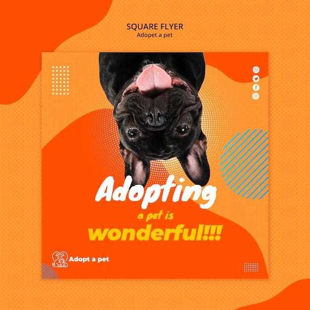 Kwadratowy Szablon Ulotki Do Adopcji Zwierzaka Ze Schroniska Darmowe Psd
