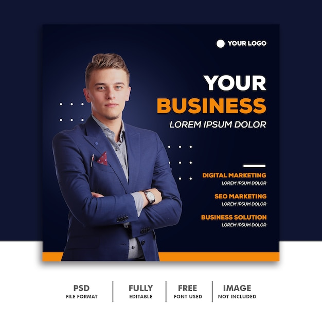 Kwadratowy Sztandar Media Społecznościowe Szablon Postu Biznesmen Premium Psd