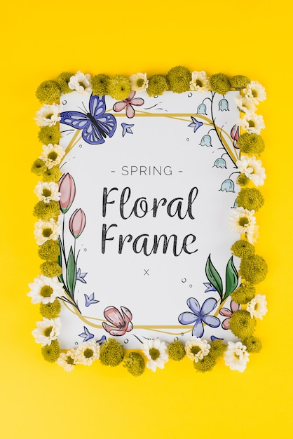 Kwiatowy skład ramki na wiosnę Darmowe Psd