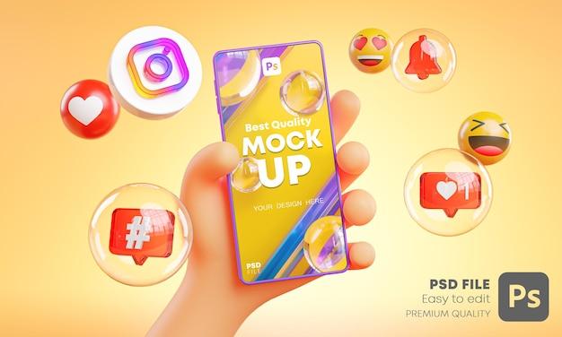 Ładna Ręka Trzyma Ikony Telefonu Instagram Wokół Makieta Renderowania 3d Premium Psd