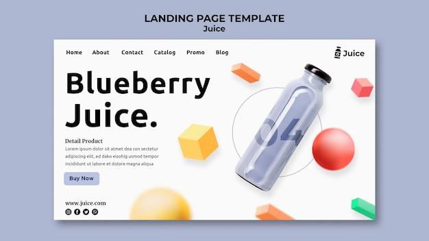 Landing Page Na Sok Owocowy W Szklanej Butelce Premium Psd