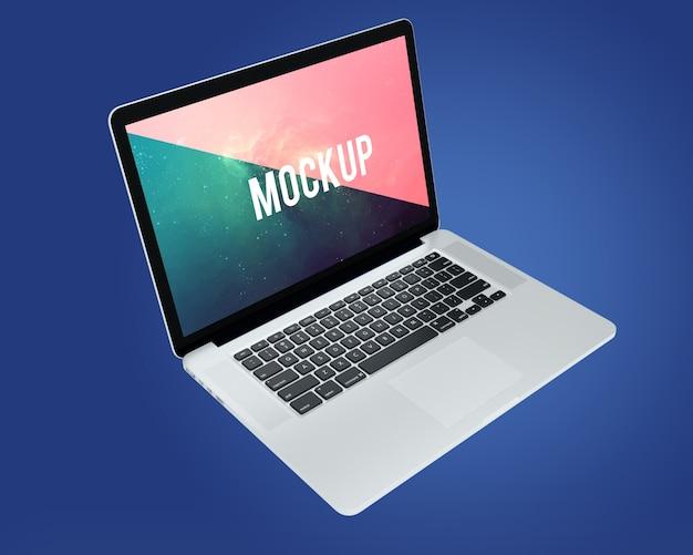 Laptop Na Niebieskim Tle Makieta Darmowe Psd