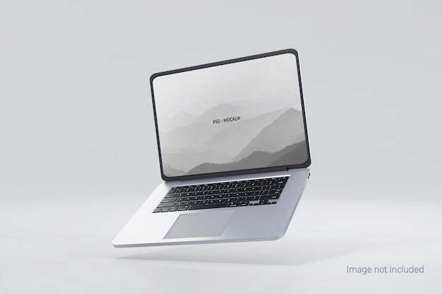 Latający Projekt Makieta Laptopa Na Szarym Tle Premium Psd