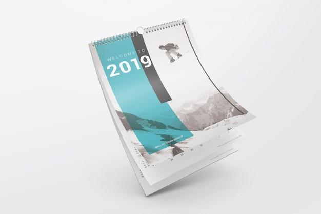 Latający wygięty makieta kalendarza Premium Psd