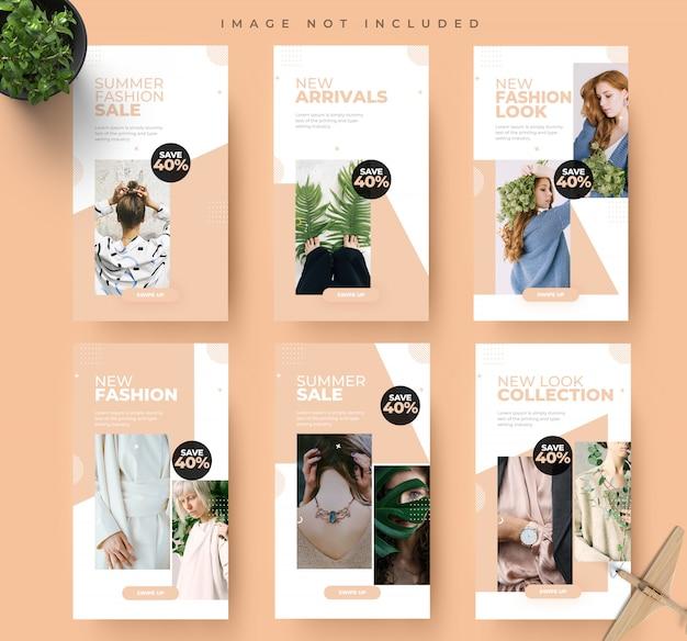 Lato Moda Instagram Media Społecznościowe Historie Moda Sprzedaż Transparent Szablon Projektu Premium Psd
