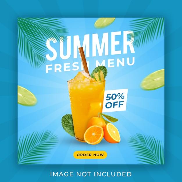 Lato Napój Menu Promocja Instagram Szablon Transparent Post Premium Psd