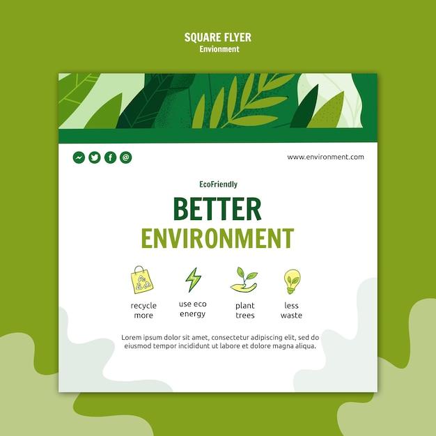 Lepsze środowisko Kwadratowa Ulotka Darmowe Psd