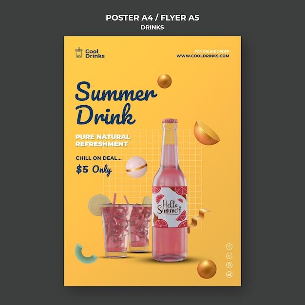 Letni Napój Orzeźwiający Plakat Z Czystym Sokiem Premium Psd