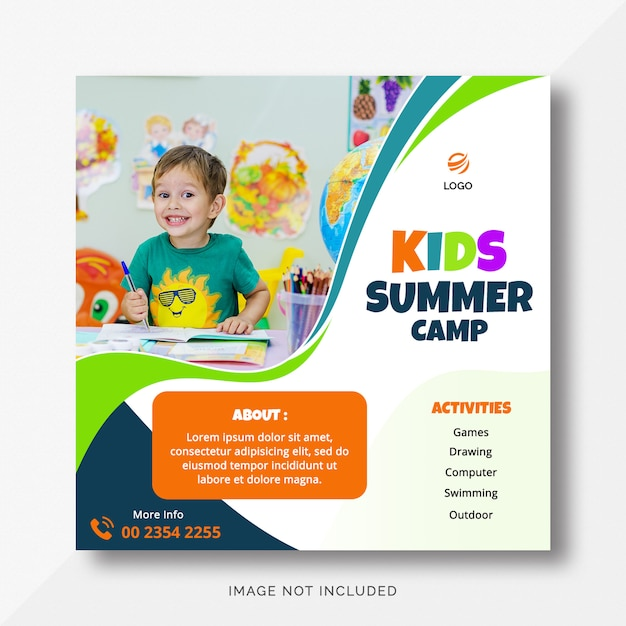 Letni Obóz Dla Dzieci Instagram Banner Premium Psd