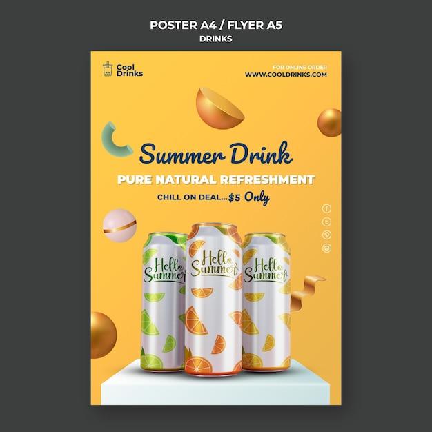 Letni Plakat Orzeźwiający Czysty Napój Premium Psd