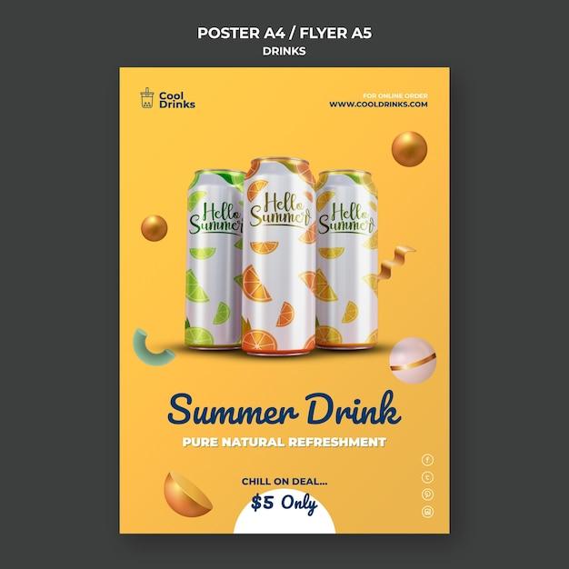 Letni Plakat Puszki Czystego Orzeźwienia Darmowe Psd