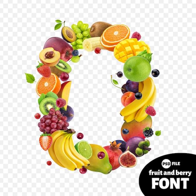 Liczba zero z owocami Premium Psd