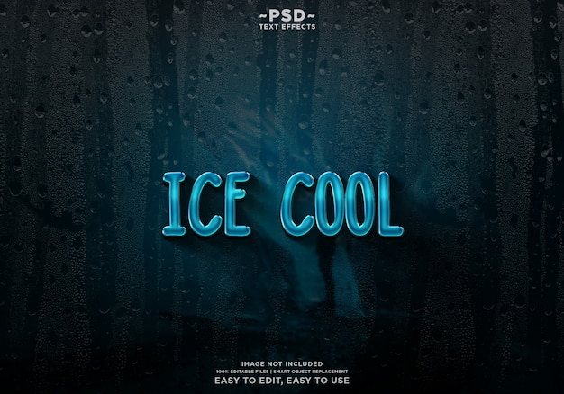 Lód Fajny Szablon Efekt Tekstowy Premium Psd Premium Psd