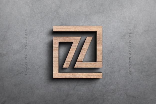 Logo 3d Makieta W Drewnie Premium Psd