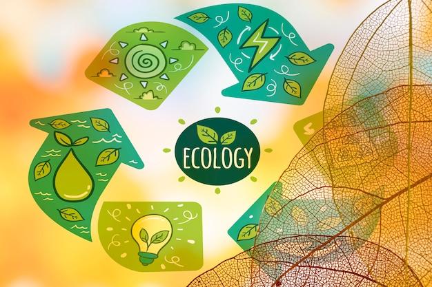 Logo Ekologii Z Półprzezroczystymi Liśćmi Darmowe Psd