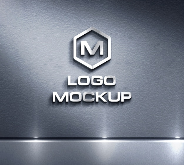 Logo wyśmiewa się na tle metalowym Darmowe Psd