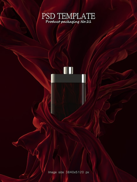 Luksusowe Perfumy Z Czerwoną Tkaniną Na Ciemnym Tle 3d Render Premium Psd