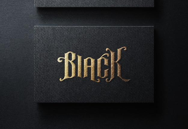 Luksusowy Makieta Logo Na Czarnej Wizytówce Premium Psd