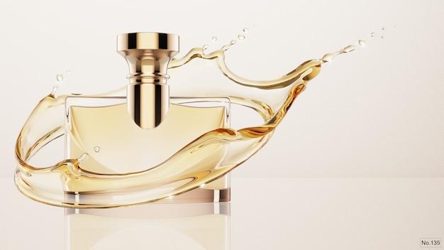 Luksusowy Produkt Z Odrobiną żółtej Wody. Renderowanie 3d Premium Psd